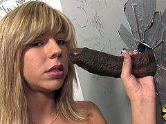Be part of this video where a blonde babe, with small boobs wearing pink panties, while she sucks a big black cock from a gloryhole and gets fucked!