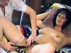Kinky retro brunette is having fun with some salacious blonde nurse indoors. The blonde pleases the brunette with massage and then shows her pussy-licking skills.