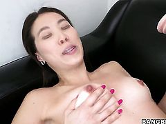 Oriental Lily asks her man to stick his beefy cock in her mouth