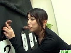 Watch this kinky Japanese mature couple in their cock guessing game.This mature Japanese babe has to guess her hubby's cock along with other cocks behind the certain.She jerks, grabs, sucks all cock to know which one is of her hubby.In last they both win as this cock taster knows the taste of her hubby's cock.