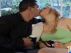 See the lovely 18 year old babysitter Gwen Diamond making out with her boss before letting him play with her hot tits.