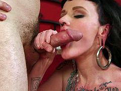 Tattooed slut receives this large cock deep down her creamped pussy in hardcore