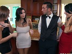 Gorgeous MILFs flirt with handsome young guy in the kitchen. Ava Adams gets in charge. She kneels down revealing hard flesh out of his pants. Voluptuous mom gives deepthroat blowjob. Then, busty hottie bends over the kitchen counter getting hammered deep in her snatch from behind.