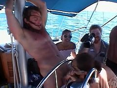 Horny chick in sunglasses gets banged on a boat