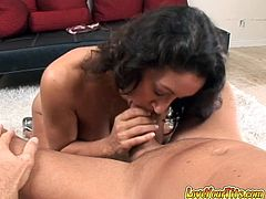 Curly haired dark head zealous hooker with OMG tremendous Fatsacks applies her main boob power to fuck her thirsting hubby powerfully....Take a look at this old experienced gal in My XXX Pass sex video!