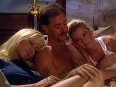 These two juicy and sizzling sirens are going to make this dude feel like in paradise. That double blowjob was thrilling and now they share him in pussies.