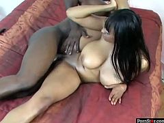 Busty ebony whore Carmen Hayes rides her BF's dick like a true cowgirl