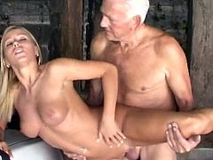 Cutie loves feeling senior cock drilling deep down her warm and juicy little cunt