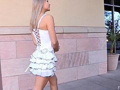 Amie walks around in her short dress and heels, stopping around in various areas to spread her legs and finger fuck her pussy.