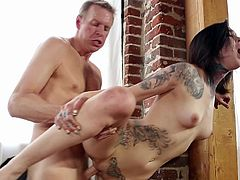 Slim babe with perky tits receives full hardcore and warm load up her throat