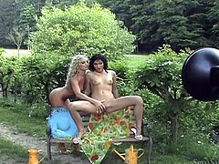 Get a load of this hot lesbian scene where these naughty ladies giving you a boner as they have fun outdoors with each other.