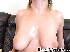 Jessica Moore with juicy boobs and shaved muff gets her twat stretched by erect tool of Dale Dabone