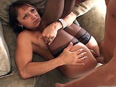 Have fun with this great hardcore scene where this smoking hot mature sucks on this guy's big cock before being nailed by a big cock as she wears stockings.
