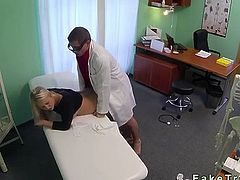Wounded knee blonde fucked by doctor