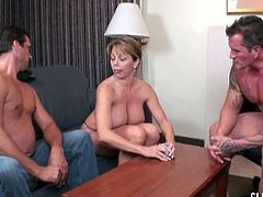 Mike and Billy play strip poker with Amber Bach. She is their busty neighbor and she sucks at poker, so she had to take her bra off fast. Mike is the one who won a handjob from her.