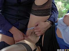 Elegant Dani Daniels is a sex obsessed wealthy woman. Lustful in black stockings pulls her tiny panties side to be fucked on a table. He drills her trimmed pussy and then licks her asshole.