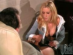 Charming blonde MILF in office clothes gets banged by a boss