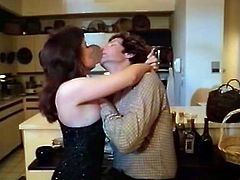 Smoking hot curvy housewife invites her hubby's friend to the kitchen to help her with dishes. Slutty wife starts kissing him and then greedily sucks his big dick.