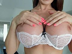 Eva Karera is a stunningly beautiful Euroean milf with big round fake boobs. She takes off her bra and shows her jugss. Then she spreads her buttocks and takes meaty cock in her mouth!