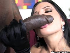 Rebecca Linares is a sexy brunette babe with huge titties. Watch her getting pounded deep and hard by a huge black cock while she is wearing her sexy stockings!