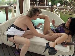 Two sensationally hot brunette ladies and one casual looking blonde MILF give blowjob to one brutal black stud. Bitches choke on that BBC in turn and get fucked doggystyle in turn. Ladies eat each other's asses from time to time.