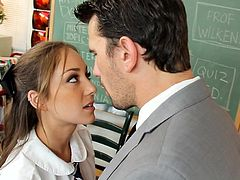 Young hottie likes teasing and pleasing her teacher in exchange for better grades