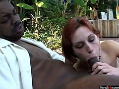 Tight red haired slut with pale skin Vanessa Mackenzie goes down on her black mate outdoors. White whore polishes that BBC with her spit dripping mouth like a pro.