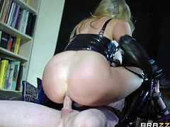 Rebecca Moore is a cheating buxom wife that wears latex mistress uniform and enjoys dirty sex behind her husbands back. Watch bit titted milf makes her kinky sex fantasies a reality.