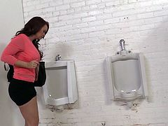 Slutty Janet Mason takes off her clothes in a toilet cabin. Some Black dude squeezes his dick through the hole. Janet gives a blowjob and then takes this huge dick in her soaking pussy.