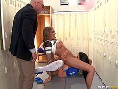 Juelz Ventura and Romi Rain touch each others firm asses and big boobs in the locker room before Principal Johnny Sins shows up. He admires their perfect tits and then gets sucked off.