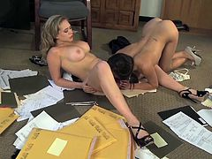Arial Rose and her sexy friend are all alone at the office and want to share with you their lesbian experience. Arial licks her friend's tight pussy like real pro.