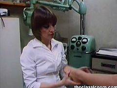 This nurse sedates her patient and starts licking her hairy pussy. Then the doctor comes in and joins the nurse. He fucks the patient and his naughty help.