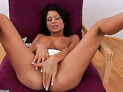 Brunette Alison Star is full of desire to masturbate with sex toy