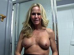 Sexy MILF Ends Up Naked in the Shower Backstage at a Shoot