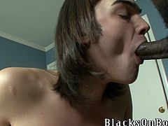 Deep anal sex with a horny faggot and his black dude