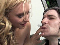 She is a filthy blond siren Katie Summers and this lust is going to enjoy a fat black cock in her asshole! Damn, her wife must be pissed off.