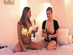 Two playful girls lost their dildo. So, they have to find something else. They take a big cucumber and start to drill each others hot pussies.