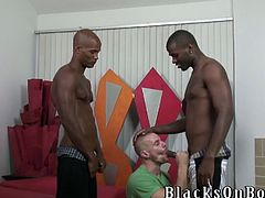 Bald gay gives skillful blowjob to two Black dudes. Later on Park takes clothes off and gets his ass drilled.