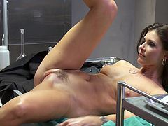 A fuckin' nasty whore sucks on a hard cock and then gets it shoved balls deep into her motherfuckin' gash, hit play and check it out!