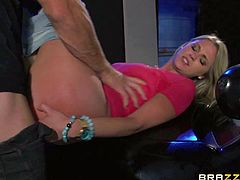 Scarlet Red is a slutty teen blonde who loves huge hard dicks so much. She gets down on her knees in front of bad guys and sucks his nice cock. She cant wait to take his big pole in her young pink pussy.