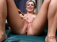 Blonde exotic Chloe Lynn with small tits and trimmed muff strips naked and masturbates on camera
