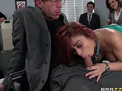 Brazzers Network brings you a hell of a free porn video where you can see how the alluring redhead Monique Alexander & Mick Blue fuck at the office in front of everybody else.
