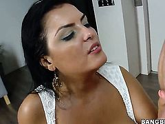 Hot stunner Jasmine Black with phat bottom gets her mouth destroyed by dudes boner