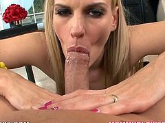 This charming blondie knows what oral sex is all about. She sucks her lover's dick with unbridled passion. Damn, this bitch is unstoppable.