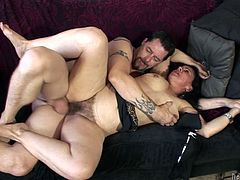 Miss Nina Swiss is a horny mature brunette sucking and fucking this guy's hard cock in this great video.
