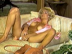 Full bosomed light haired fuckthirsting old chick lies and sofa in mish pose and pokes her mouth and flaccid cooch with massive masturbator. Take a look at this old chick in The Classic Porn sex clip!