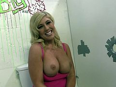 Have a blast watching this blonde MILF, with big breasts wearing a sexy bra, while she talks about her gloryhole experience and cleans herself.