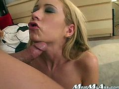 Dirty minded long haired blond whoe with gorgeous boobs sits on knees and gets her dirty mouth sharply drilled with sweet bonker. Happy end comes when she receives cum juice in her mouth. Take a look at this cum hunter in My XXX Pass sex clip!