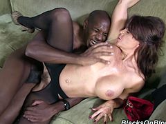 So, she seduces this black dude at her place and gives him a nice head. It wakes him up and he sticks it in that sexperienced pussy!