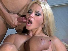 Busty blonde Nikita Von James gives a hot blowjob to some dude. Then they fuck in side-by-side and cowgirl positions and enjoy it much.